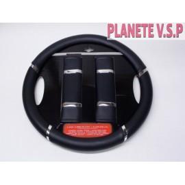 Couvre volant noir + 2 protections de ceinture de sécurité